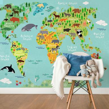 Fototapete Tierische Kinder Weltkarte