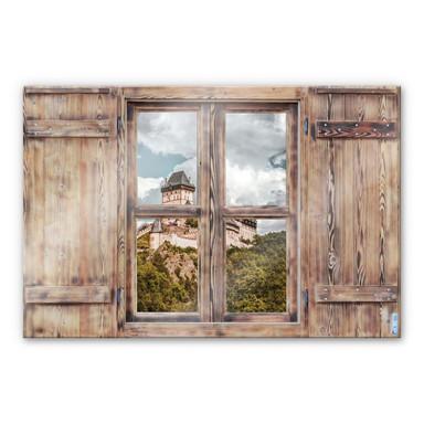 Glasbild 3D Holzfenster - Burg Karlstein