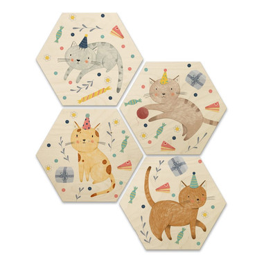 Hexagon - Holz Birke-Furnier Loske - Katzengeburtstag (4er Set) - 25x22cm