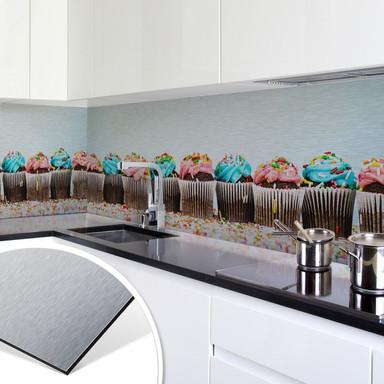 Küchenrückwand - Alu-Dibond-Silber - Party Cupcakes