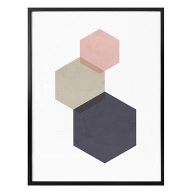 Poster Nouveauprints - Hexagons pink