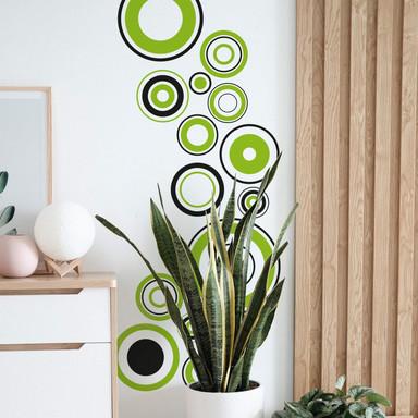 Wandsticker Retro Discs grün
