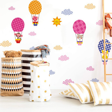 Wandtattoo Muster - Lustige Tiere im Heissluftballon (Set)