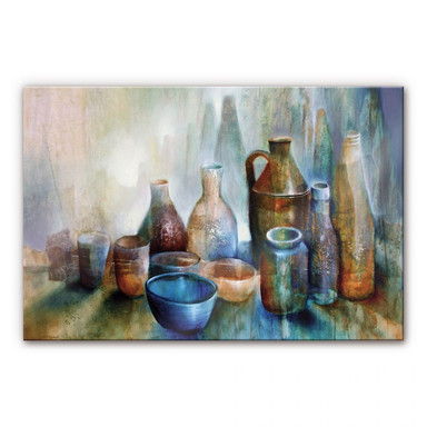 Acrylglasbild Schmucker - Stillleben mit blauer Schale
