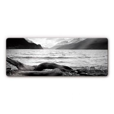Glasbild Log and Lake Panorama