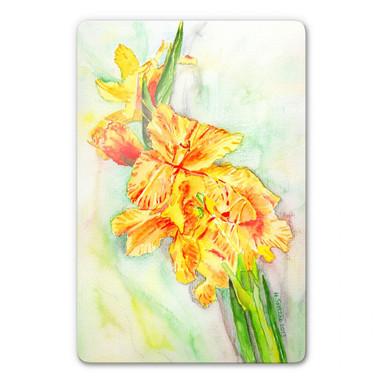 Glasbild Toetzke - Gladiolen Bouquet in Gelb