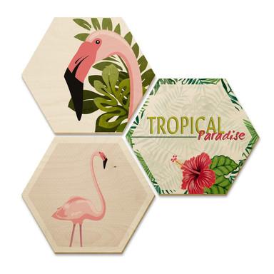 Hexagon - Holz Birke-Furnier - Flamingo 03 (3er Set)
