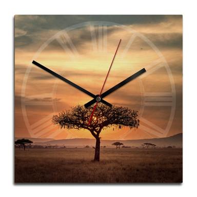 Holz-Wanduhr - Sundown in Africa