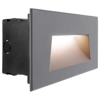 LED Wandeinbauleuchte Ivonne III in Grau und Weiss-Satiniert 7W 100lm IP65
