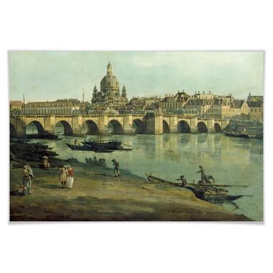 Poster Canaletto - Dresden vom rechten Elbufer
