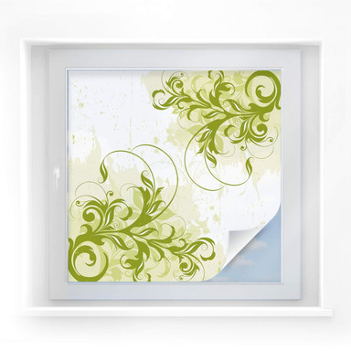 Sichtschutzfolie Ornament grün - quadratisch