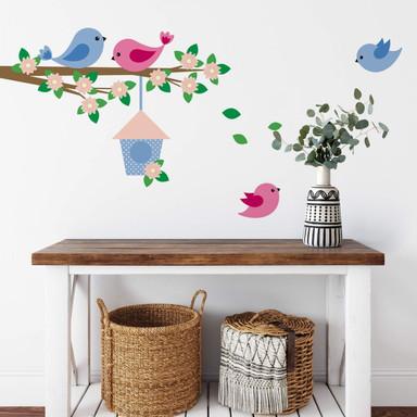 Wandsticker Zweig mit Vogelfamilie