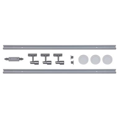 famlights | 1-Phasen Schienensystem-Set in Silber und Weiss 2 Meter inkl. 3 Spots inkl. Leuchtmittel