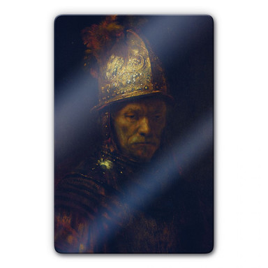 Glasbild Rembrandt - Der Mann mit dem Goldhelm