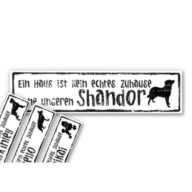 Hartschaumbild Wunschtext - Kein Haus ohne Hund inkl. 8 Klebepads