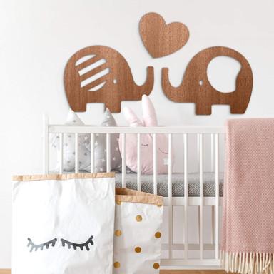 Holzdeko Mahagoni - Elefanten mit Herz (3-teilig)