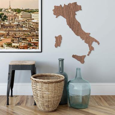 Holzkunst Mahagoni Furnier - Karte Italien