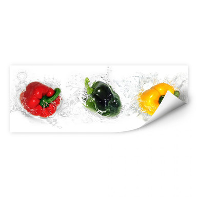 Wallprint Splashing Paprika - Panorama