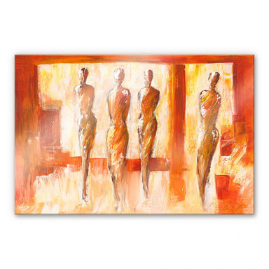 Acrylglasbild Schüssler - Vier Figuren in Orange