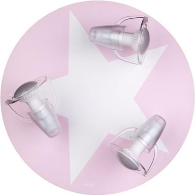 Dreiflammige Kinderzimmer-Deckenleuchte mit Stern, rosa, E14