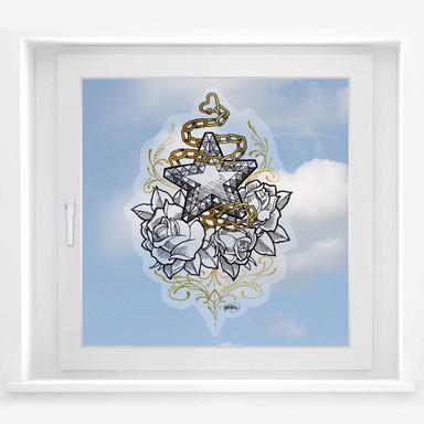 Fensterbild LA Ink Stern auf Rosen