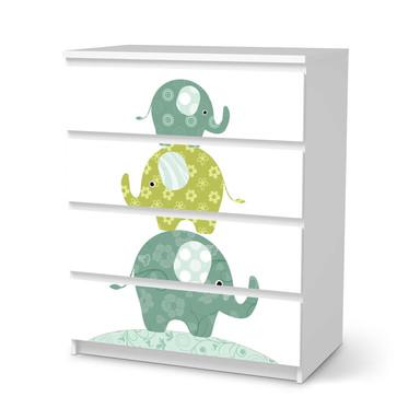 Folie IKEA Malm Kommode 4 Schubladen - Elephants- Bild 1