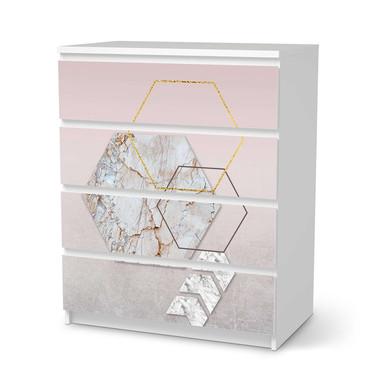 Folie IKEA Malm Kommode 4 Schubladen - Hexagon- Bild 1