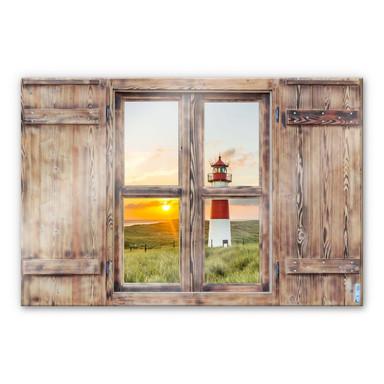 Glasbild 3D Holzfenster - Leuchtturm auf Sylt
