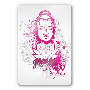 Glasbild Miami Ink Buddha mit Lotus