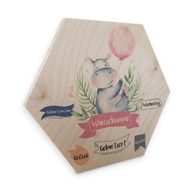 Hexagon - Holz Kvilis - Flusspferd rosa Luftballon & Wunschtext