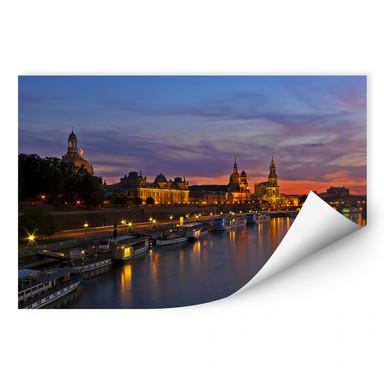 Wallprint Dresden im Nachtlicht