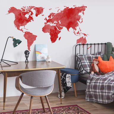 Wandtattoo Aquarell Weltkarte (rot)