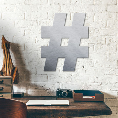 Alu-Dibond Buchstaben - Silbereffekt - Hashtag Zeichen