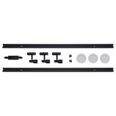 famlights | 1-Phasen Schienensystem-Set in Schwarz und Weiss 2 Meter inkl. 3 Spots inkl. Leuchtmittel