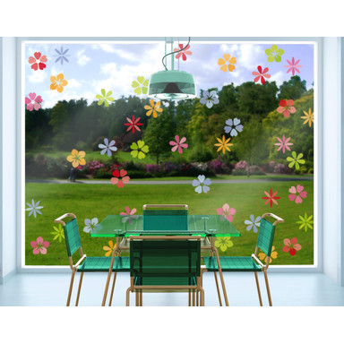 So könnten die Blumen platziert wirken - Fenstersticker Blütenmeer