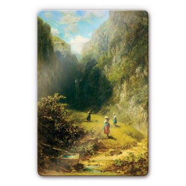 Glasbild Spitzweg - Heuernte im Hochgebirge