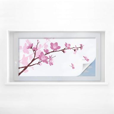 Sichtschutzfolie Kirschblüten - Panorama