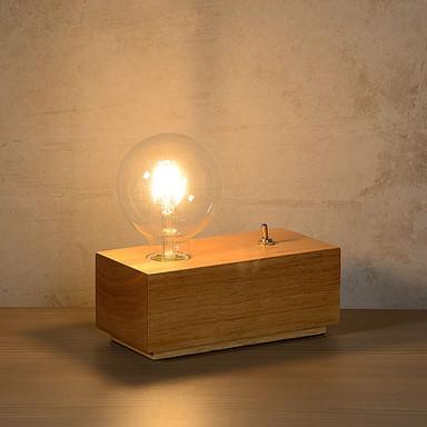 Tischleuchte Edison, helles Holz, E27. mit Leuchtmittel