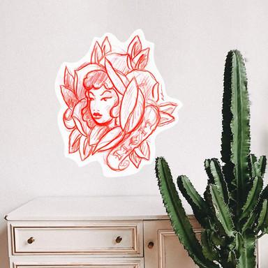Wandsticker Miami Ink Blütengesicht