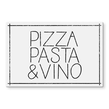 Glasbild Pizza Pasta & Vino weiss