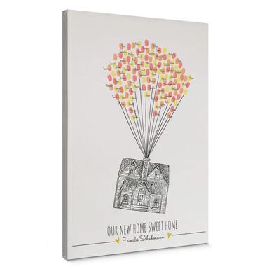 Leinwandbild Fingerprint & Wunschtext - Our new Home sweet Home