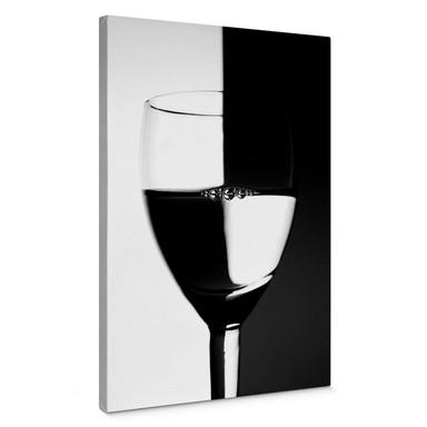 Leinwandbild Weinglas schwarz/weiss