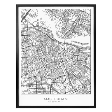 Poster Stadtplan Amsterdam