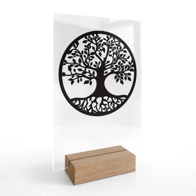 Tischaufsteller Baum mit Wurzeln