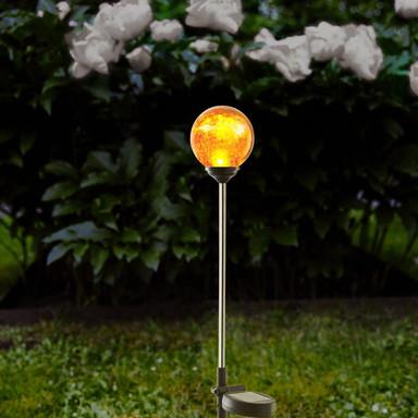 Erdspiessleuchte Roma mit amberfarbigen Glas, 680 mm, inkl. Sensor und LED