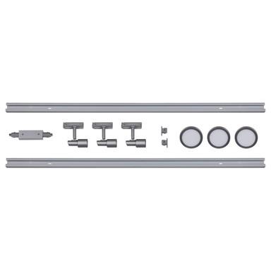 famlights | 1-Phasen Schienensystem-Set in Silber 2 Meter inkl. 3 Spots inkl. Leuchtmittel