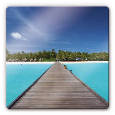 Glasbild Karibik quadratisch