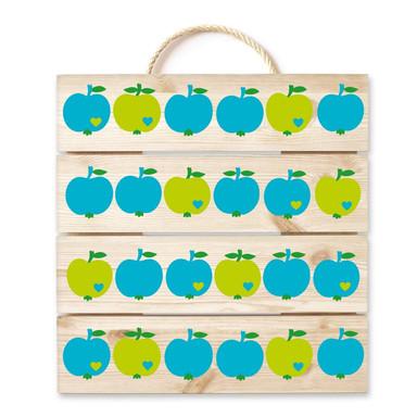 Holzbild byGraziela - Apfel blau-grün