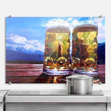 Küchenrückwand Bleichner - Zwei Bier in den Bergen
