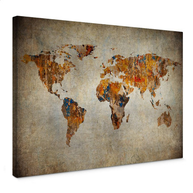 Leinwandbild Weltkarte Shabby Chic